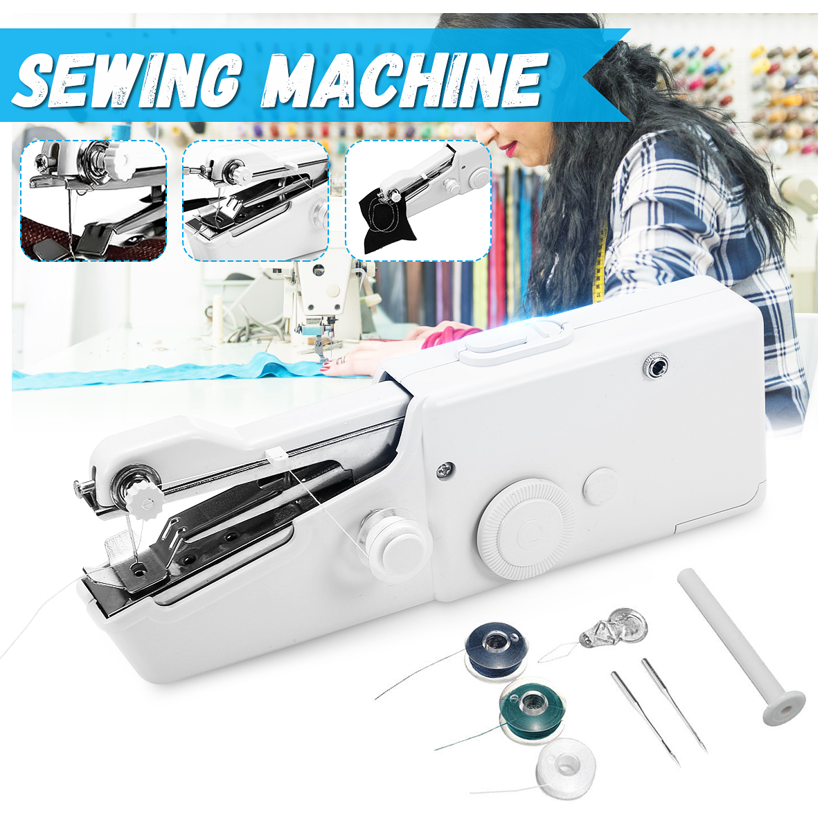 Hot Mini Multifunction Home Travel Portable Cordless Hand-held Sewing Machine TX