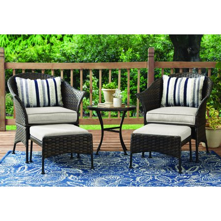 Mainstays Arlington Glen 5-Piece Patio Leisure Set with Tan Cushions ()