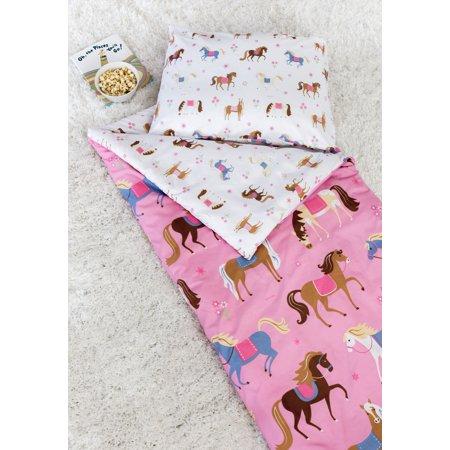 Sleeping Bag With Pillow For Kids (Olive Kids Horses Microfiber Sleeping Bag w/)