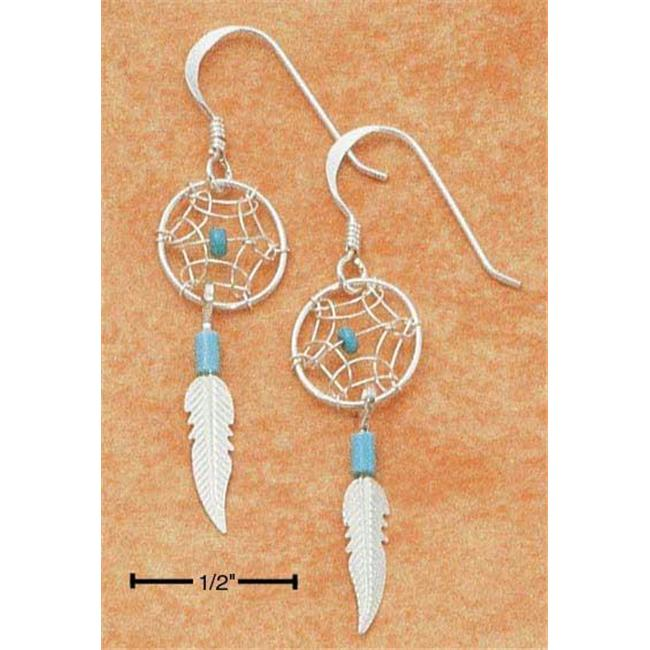 Plum Island Silver EA-0904 Sterling Silver Small Turquoise Dreamcatcher Earrings With Feather On French Wires