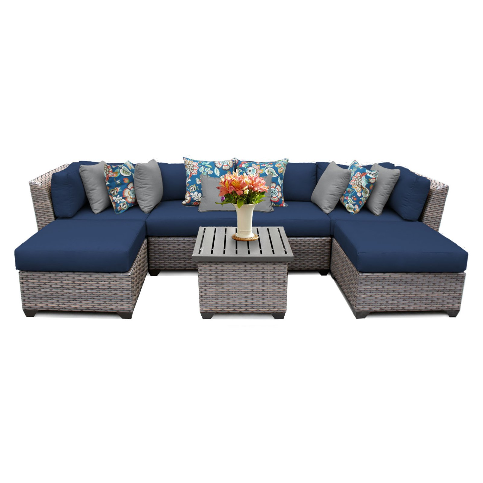 TK Classics Florence Wicker 7 Piece Patio Conversation Set with 2 Sets of Cushion Covers