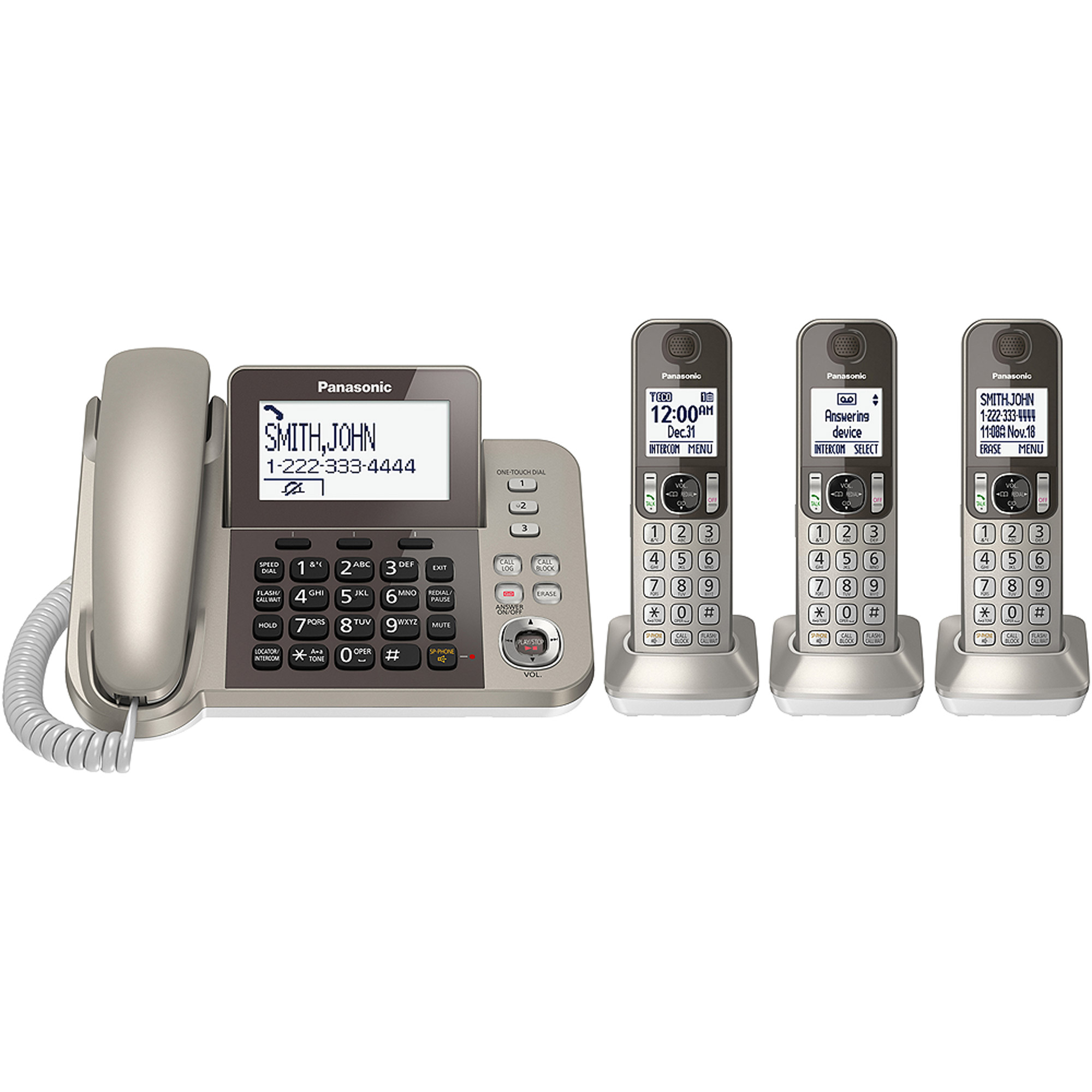 Panasonic Cordless Phone and Answering Machine with 3 Handsets