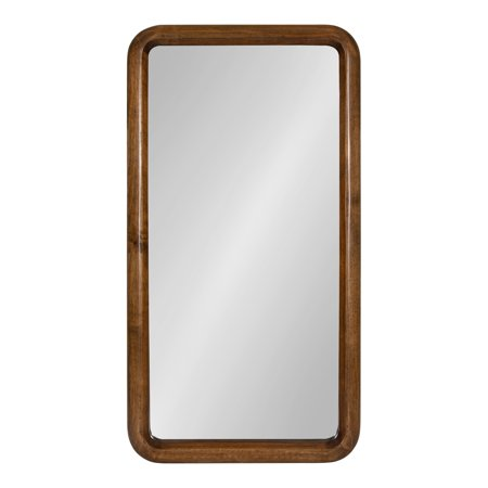 Kate and Laurel Pao Mid-Century Modern Wood Panel Wall Mirror, Walnut Brown