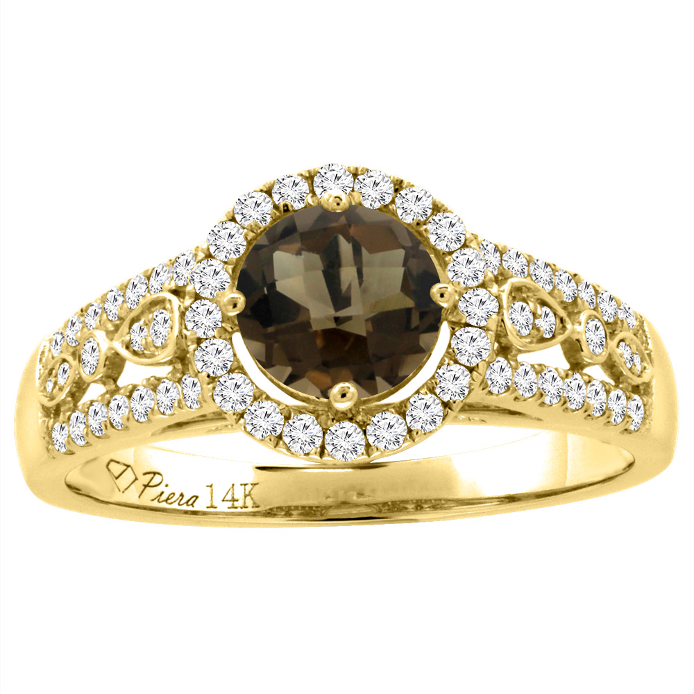 14K Yellow Gold Diamond Natural Smoky Topaz Engagement Halo Ring Round 7 mm, size 5.5 by Gabriella Gold