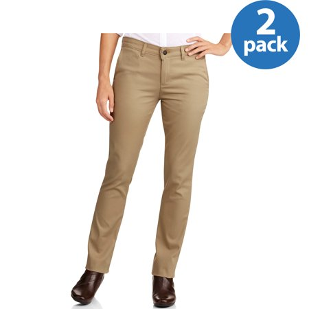 Genuine Dickies Womens Slim Straight Twill Pant, 2 Pack