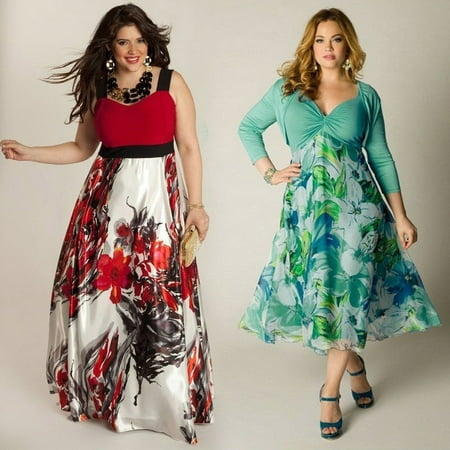 10061ac532 Honganda - Women Sexy Summer Dress Boho Maxi Long Evening Party Dress Beach  Dress Plus Size M-XXL - Walmart.com