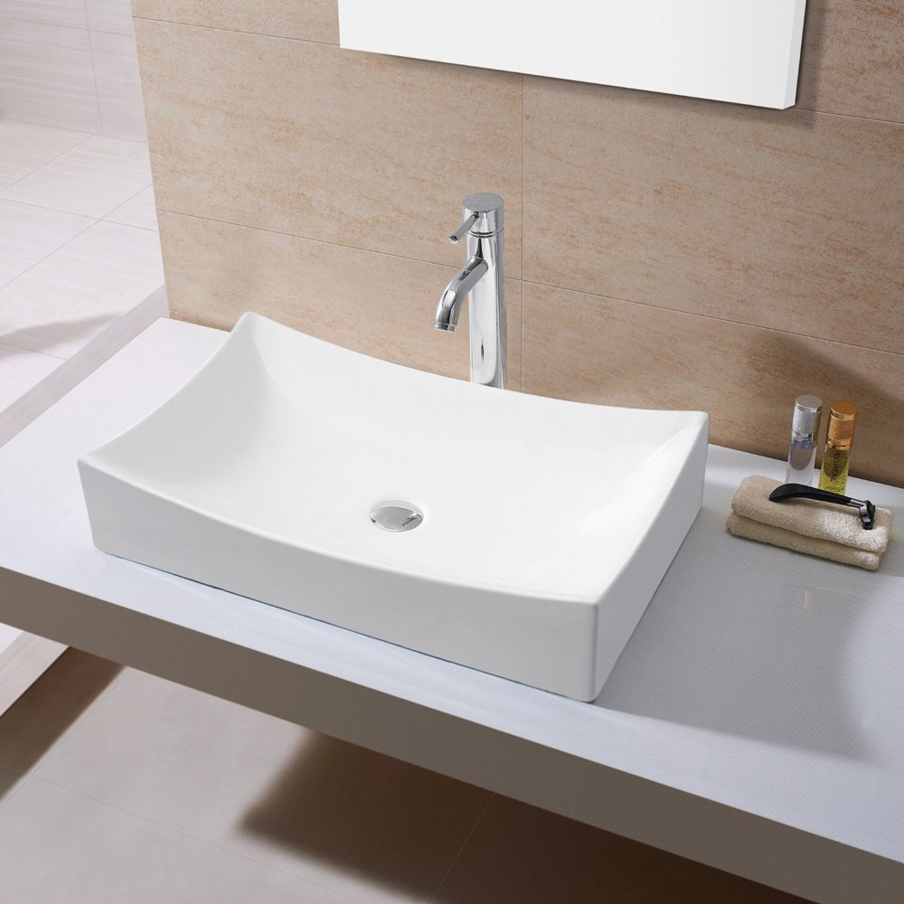 Ainfox Bathroom White Rectangle Porcelain Ceramic Above Counter Vessel Vanity Sink Art Basin with Chrome Faucet and Pop up Drain Combo