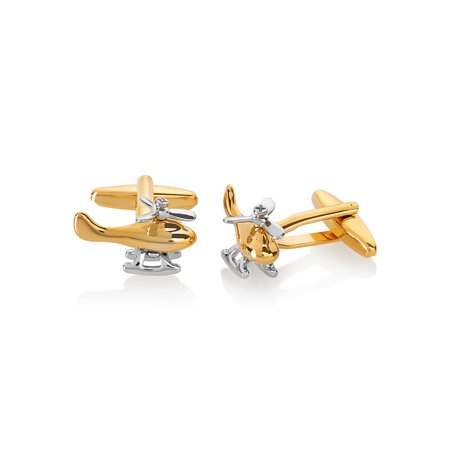 Men's Two Tone High Polished Helicopter Spinning Propeller (Chrome Polished Cufflinks)
