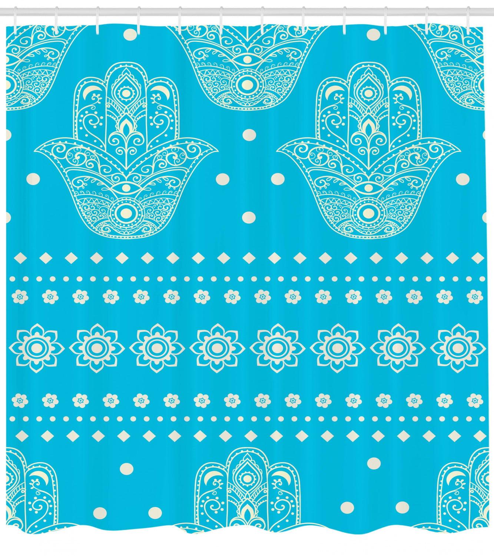 Eastern Hamsa Pattern Shower Curtain Fabric Decor Set with Hooks 4 Sizes