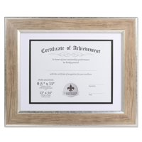Dual Use Blonde 11x14 Certificate Picture Frame with Double Bevel Cut Matting for 8.5x11 Document