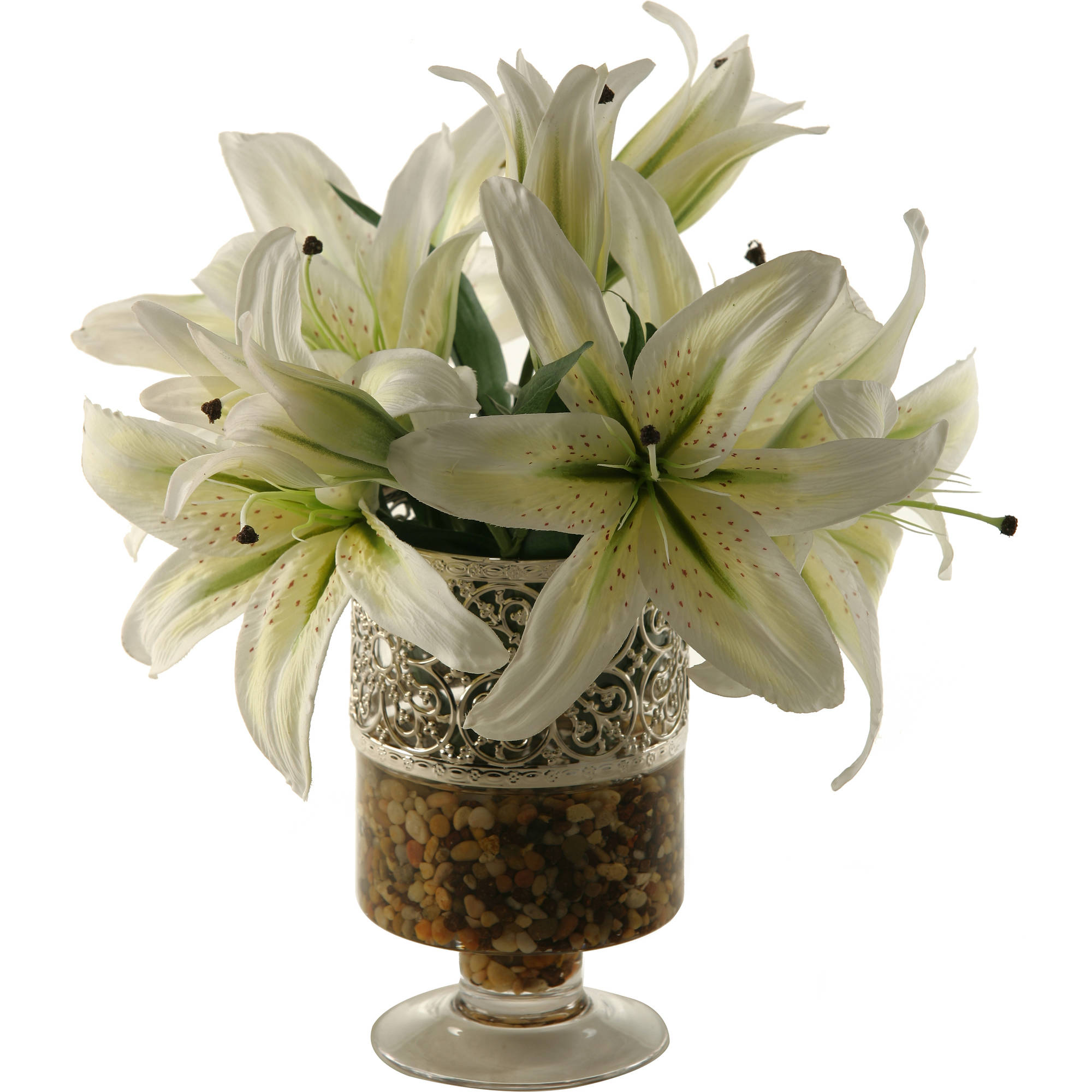 D&W Silks Lilies in Glass Pedestal with Metal Collar