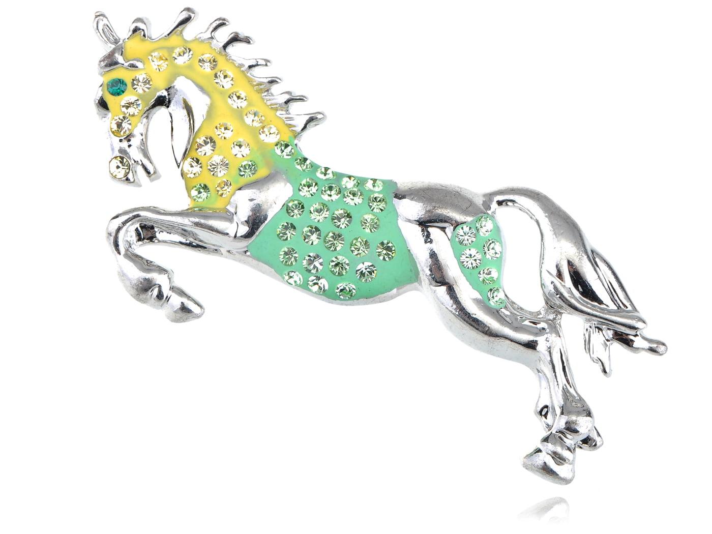 Galloping Stallion Horse Green Yellow Enamel Crystal Custom Pin Brooch by