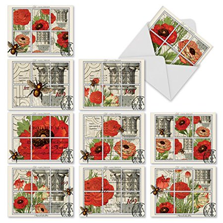 M3983 What S The Buzz  10 Assorted All Occasions Note Cards Featuring Vintage Illustrations Of Bees With Flowers With Envelopes By The Best Card Company