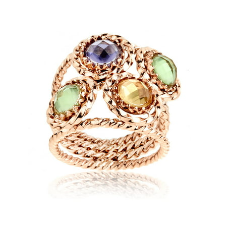 - Rose Gold Plated Stainless Steel Twisted Wire Ring With Colored CZs