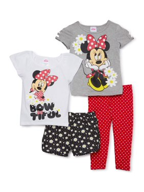 Minnie Mouse Toddler Girl T-shirts, Shorts & Leggings, 4 pc Outfit Set