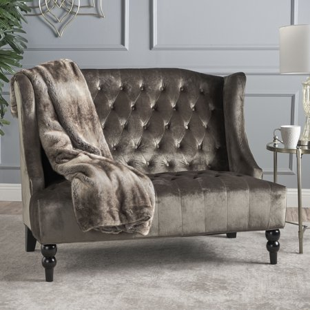 Noble House Laura Traditional Tufted Winged Velvet