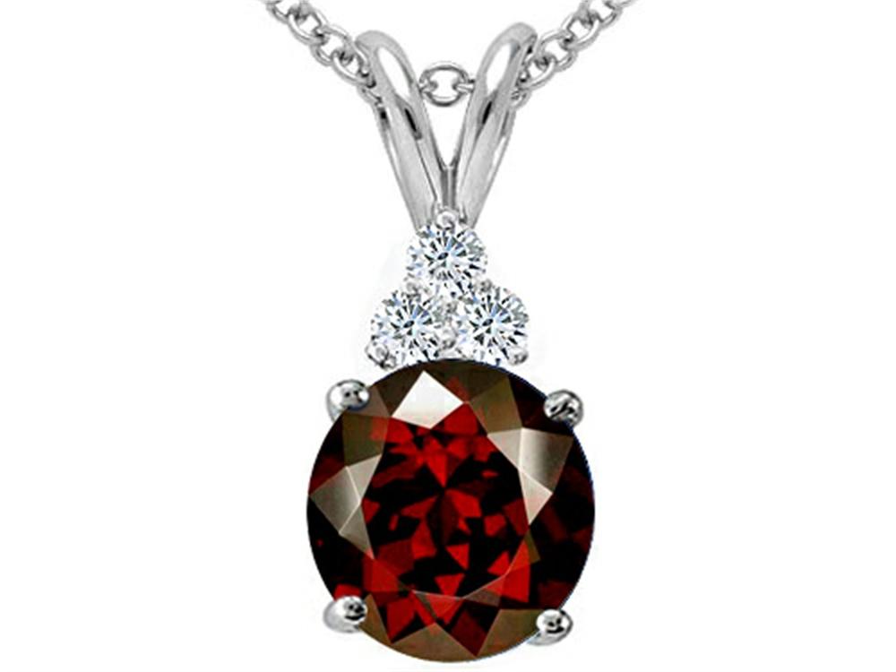 Tommaso Design Round 7mm Genuine Garnet Pendant Necklace by