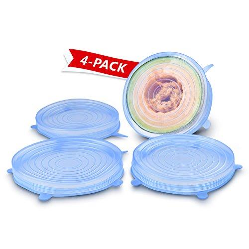 "ORBLUE Silicone Stretch Lids, 4-Pack Large, 8.3"" (will stretch to 11"")"