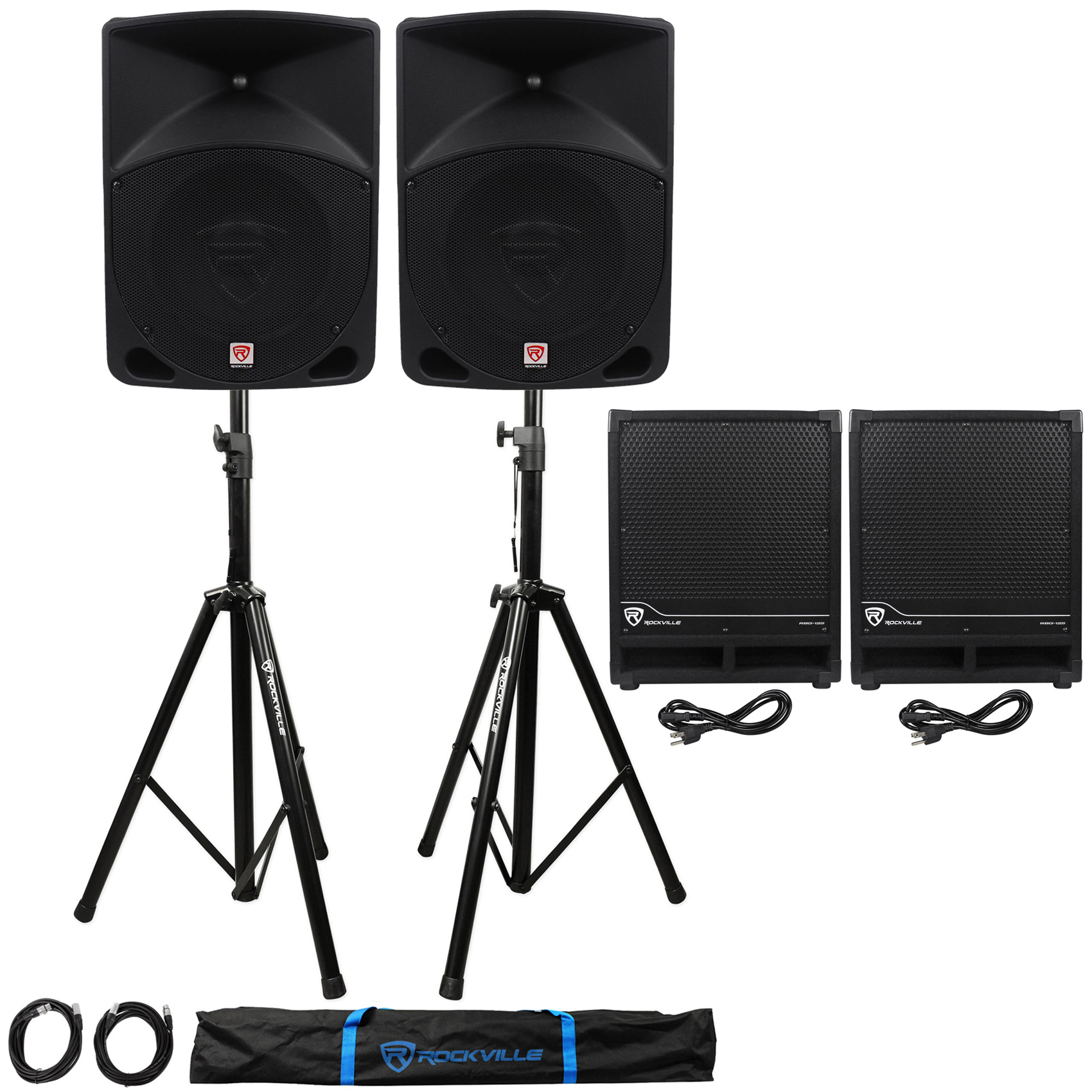 "(2) Rockville RPG10 10"" Powered 600W DJ PA Speakers+(2) Subs+Stands+Cables+Bag by ROCKVILLE"