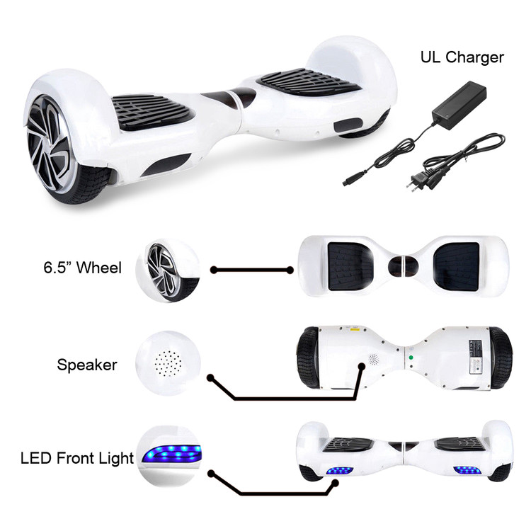 "New 6.5"" Electric Smart Self Balancing Scooter Hoverboard With Bluetooth Speaker - UL 2272 Certified"