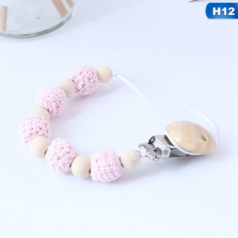 Cute Baby Personalized Wooden Bead Pacifier Soother Dummy Clip ~ Football ~ Boys