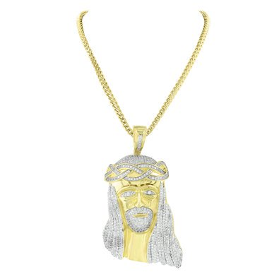 Jesus Face Pendant 14k Gold Finish Lab Created Cubic Zirconia Free Franco Necklace Charm Set