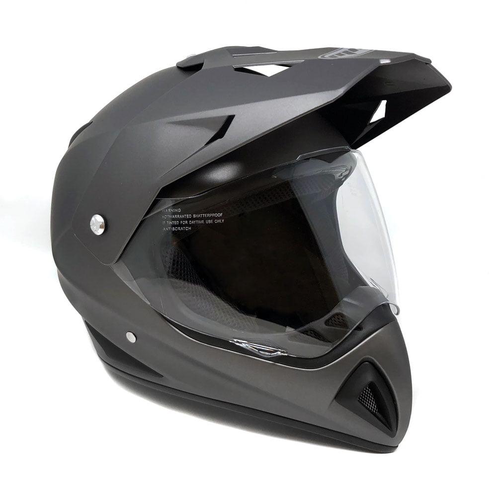 Motocross Full Face Helmet - Dual Sport Off Road Motorcycle Dirt Bike ATV - with Flip Up Visor - 27V (Medium - Matte Gray)