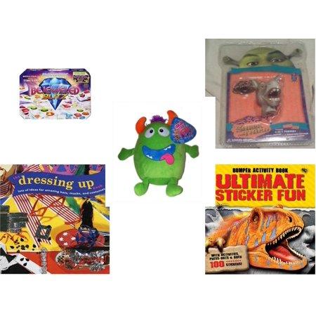 Children's Gift Bundle [5 Piece] -  Bejeweled Blitz  - Shrek Donkey Foamheads 4 In 1 Topper Keychain  - Sugarloaf s Green Monster  8