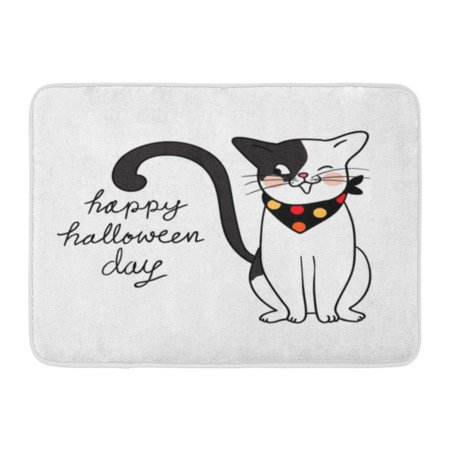 GODPOK Yellow Adorable Character Design Cute Cat Happy in Halloween Day Trick Treat Draw Doodle Style Animal Rug Doormat Bath Mat 23.6x15.7 inch](Halloween Classroom Door Designs)