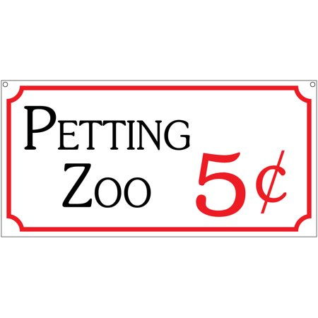 Petting Zoo 5c- 6x12 Aluminum Retro Animals Carnival Fair Circus sign