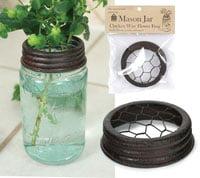 Colonial Tin Works Mason Jar Chicken Wire Flower Frog - Green/Rust