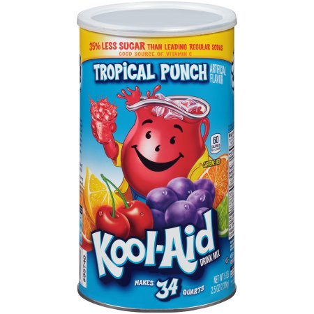 (3 Pack) Kool-Aid Sugar Sweetened Tropical Punch Powdered Soft Drink, 82.5 oz Canister