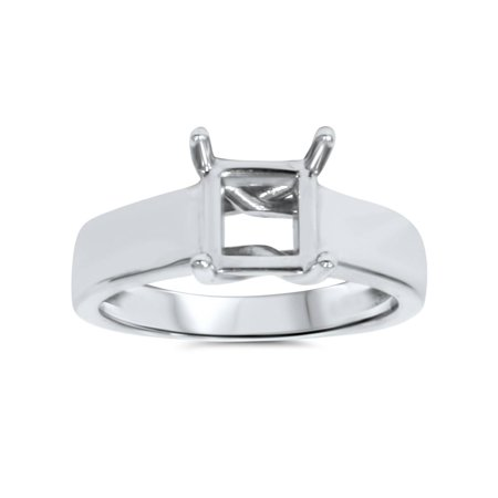 14K White Gold Solitaire Princess Cut Engagement Ring Setting Fits 5.5mm SZ 6.5 Comfort Fit Solitaire Setting