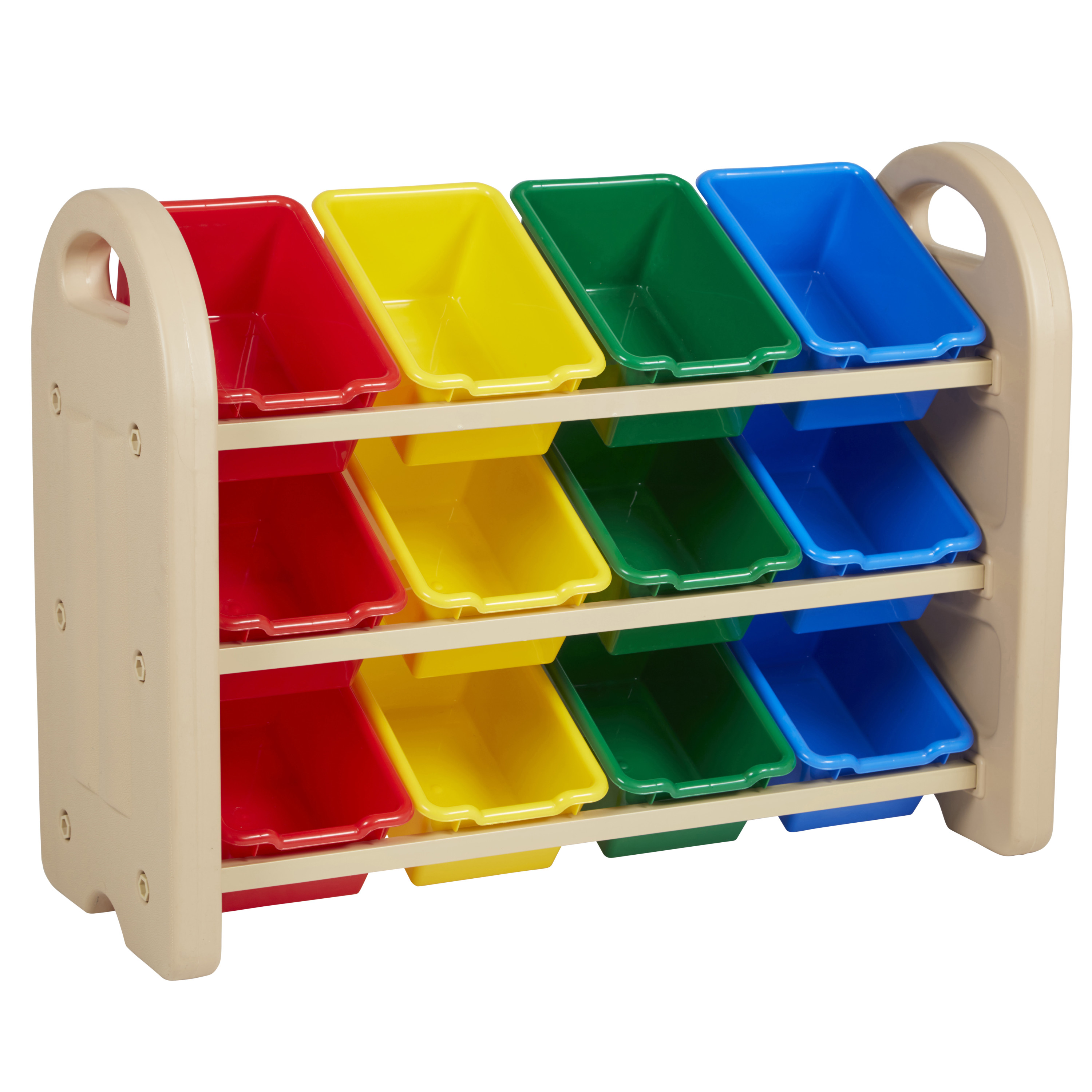 3-Tier Storage Organizer with Assorted Bins - Sand