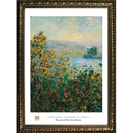 Buyartforless Framed Flower Beds At Vetheuil By Claude Monet 32X24 Art Print Poster Famous Painting Floral Ocean Landscape View From Museum Of Fine Arts Boston Collection