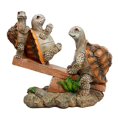 Atlantic Collectibles Mother Turtle Playing With Her Babies On Forest Seesaw Decorative Figurine 6.5