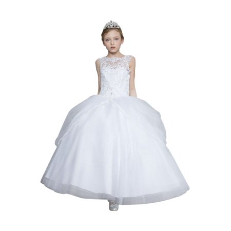 Tulle Coat (Little Girls White Lace Glitter Scalloped Trim Tulle Pageant Ball Dress)