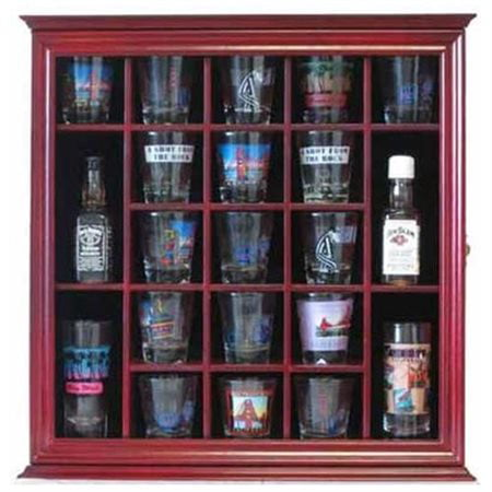 21 Shot Glass Shooter Display Case Holder Rack Wall Cabinet, Glass Door, SC01 (Cherry Finish) ()
