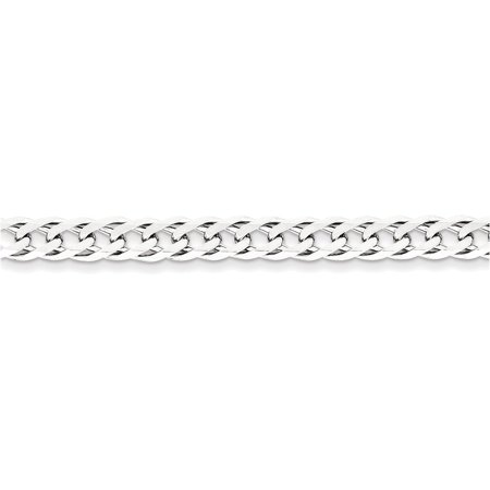 Sterling Silver 6.25mm Double 6 Side Diamond Cut Flat Link Chain Length 20