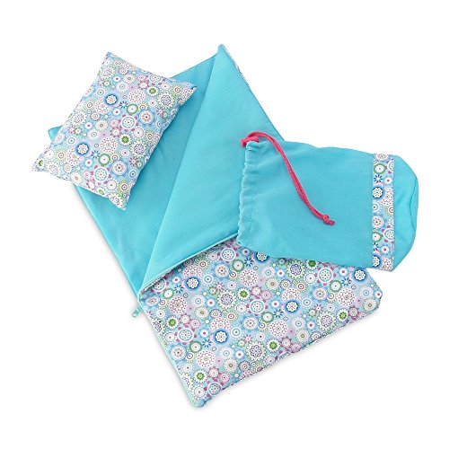 18 Inch Doll Accessories | Reversible Multicolored Geometric Flower Print Sleeping Bag Set... by Emily Rose Doll Clothes