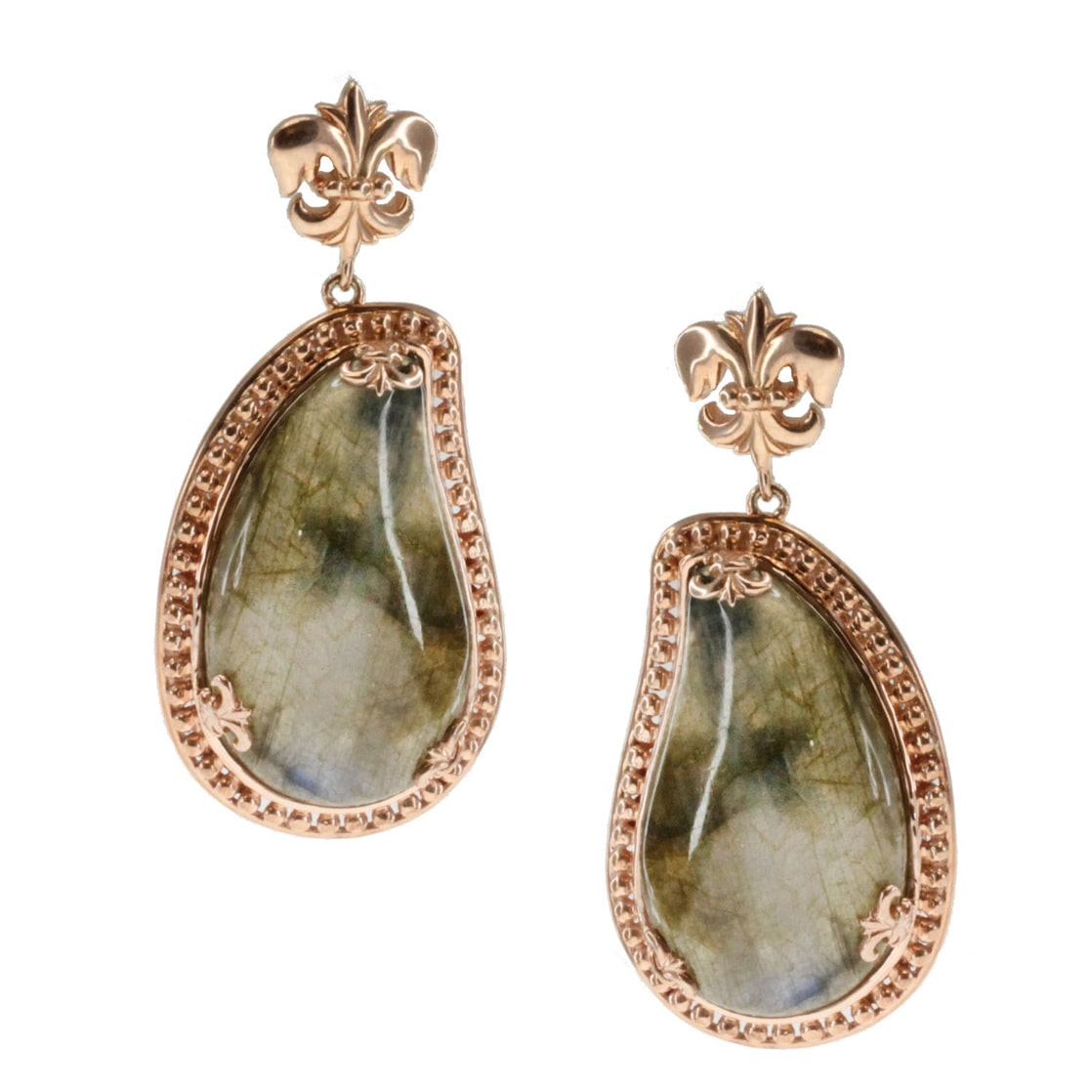 Dallas Prince  Gold over Silver Labradorite Earrings