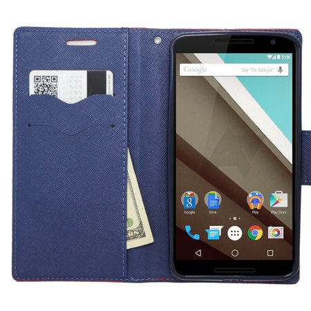Insten Book-Style Leather Fabric Cover Credit Card Stand Case Lanyard for Motorola Google Nexus 6 - Red/Blue - image 1 de 3