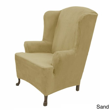 easy fit inc stretch suede wing chair cover walmart com