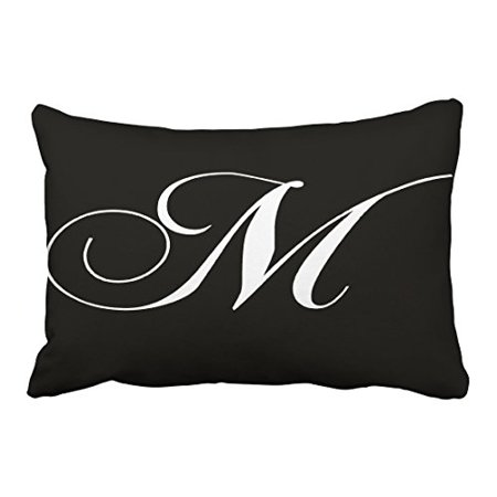 WinHome Decorative Black White Monogram M Designer Monogrammed Pillow Case Decorative Throw Pillow Case Decor Cushion Covers Size 20x30 inches Two Side ()