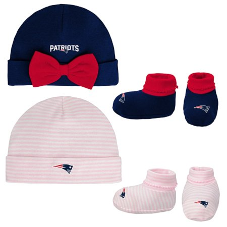 Girls Newborn & Infant Navy/Pink New England Patriots Cuffed Knit Hat & Booties Set - Newborn New England Patriots Collectibles