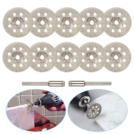Diamond Cutting Wheel (22mm) 10pcs with Mandrel (3mm) 2pcs Saw Blades Cut Off Discs Set for Dremel Rotary