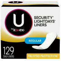 U by Kotex Lightdays Panty Liners, Regular, Unscented, 129 Ct
