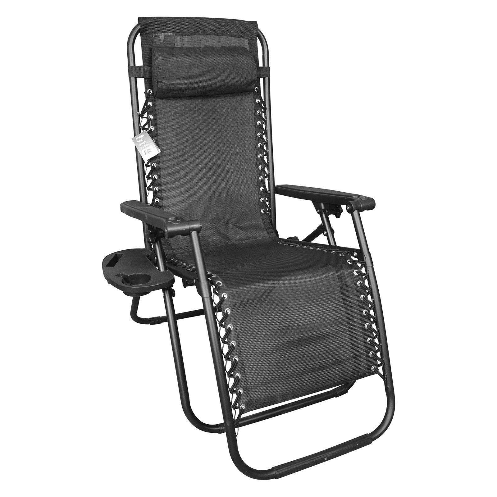 Backyard Expressions Sling Fabric Steel Anti-Gravity Chair with Removable Cupholder