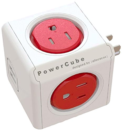 PowerCube [Newest Version] USB, Surge Protector, Electric Outlet Wall Adapter Power Strip with 4 outlets, Dual USB Port 4220BL/USOUPC