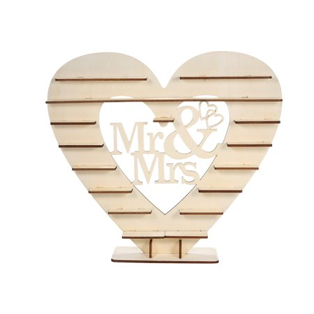 Wood Mr & Mrs Heart Tree Wedding Chocolate Display Stand Centrepiece - image 1 de 7